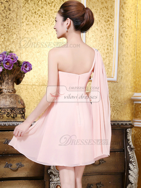 A-line Sweetheart Short Chiffon Sequin Homecoming Dresses