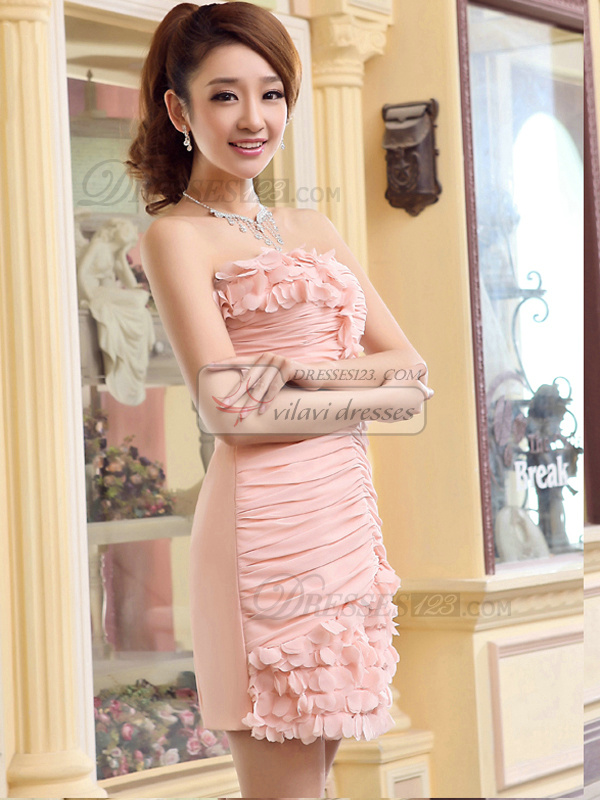 Sheath Strapless Mini Chiffon Tiered Homecoming Dresses