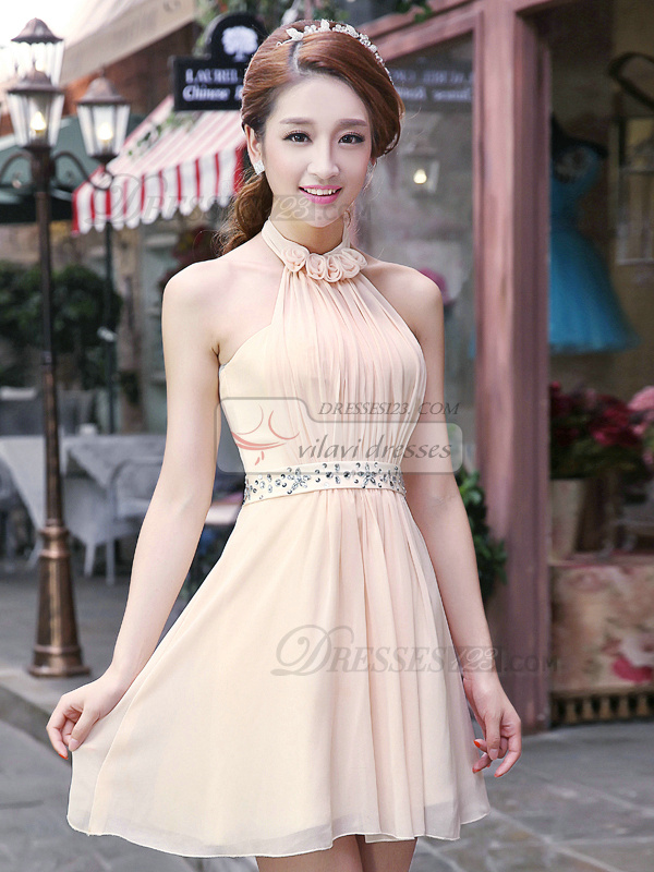 A-line Halter Short Chiffon Flower Homecoming Dresses