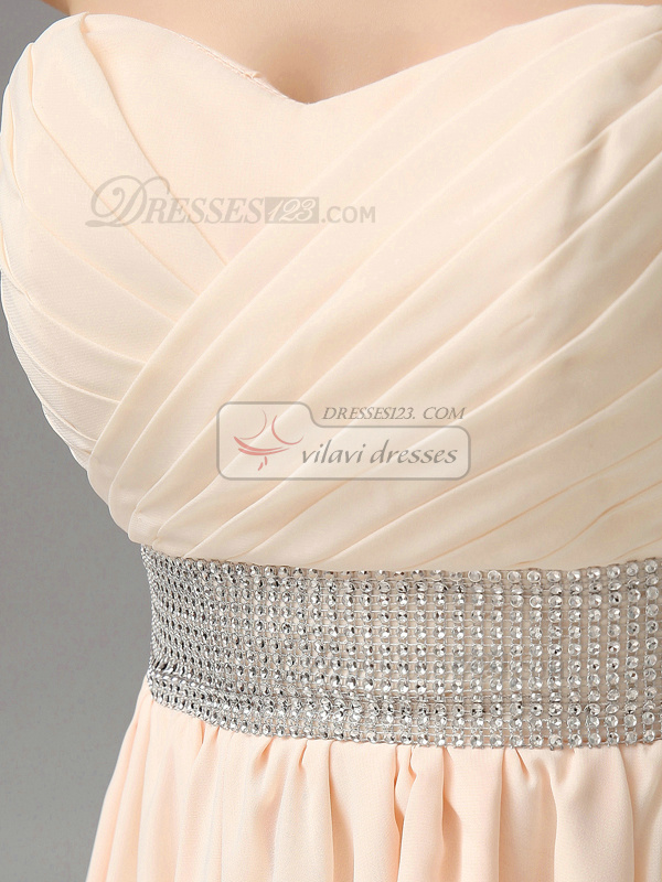 A-line Strapless Ruched High Low Chiffon Rhinestone Homecoming Dresses