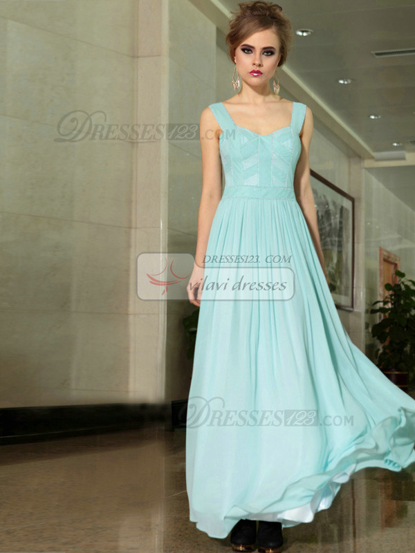 Column Scoop Floor-length Chiffon Draped Evening Dresses