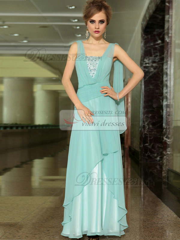 Column Scoop Floor-length Chiffon Beading Prom Dresses