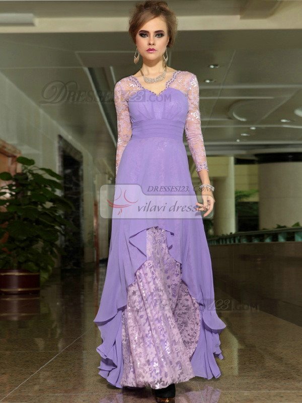 Column Scalloped-edge 3/4 Length Sleeve Floor-length Chiffon Lace Prom Dresses With Beading