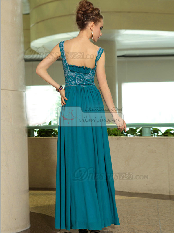 Column Straps Floor-length Chiffon Draped Prom Dresses