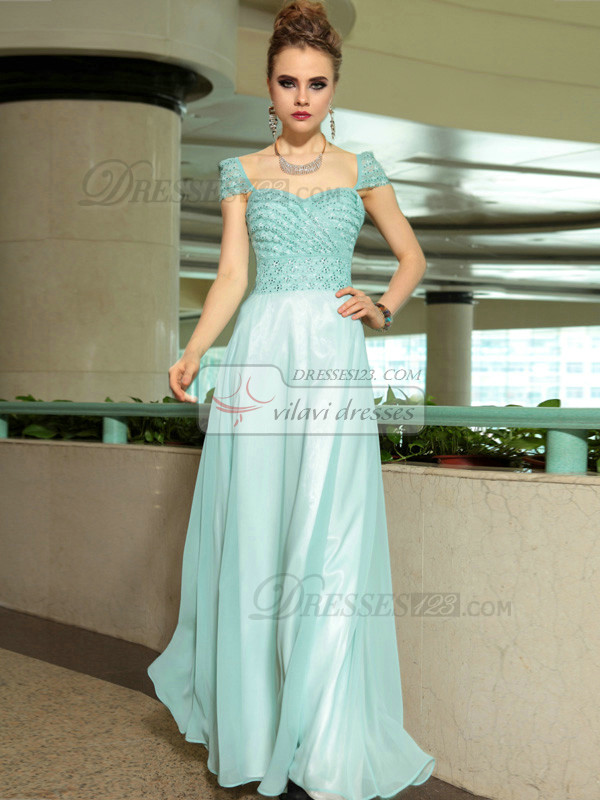 Column Sweetheart Cap Sleeves Floor-length Chiffon Sequin Prom Dresses With Beading