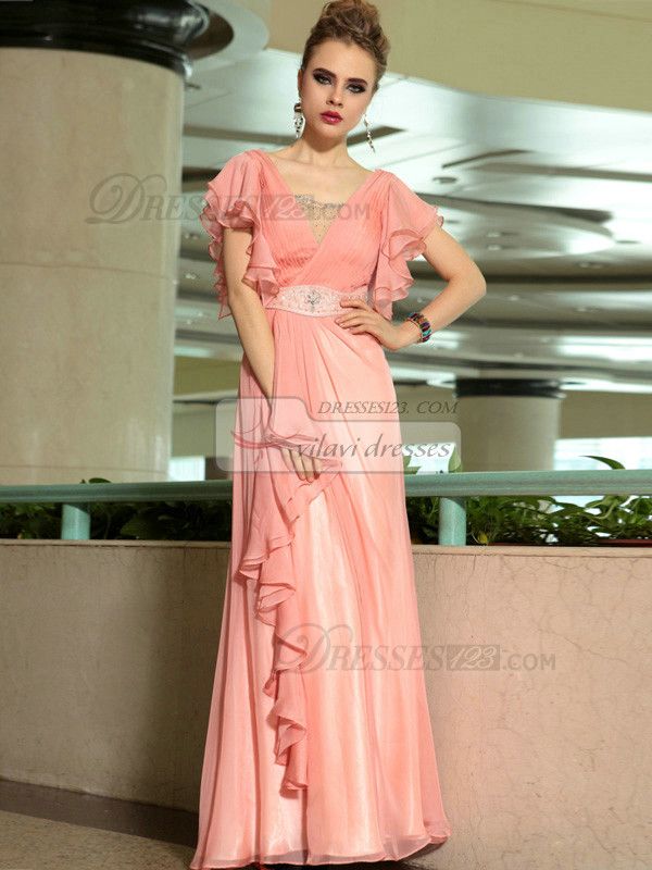 Column Bateau Lotus Leaf Sleeve Floor-length Chiffon Beading Prom Dresses With Ruffles