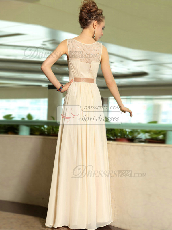 Column Bateau Floor-length Chiffon Beading Evening Dresses