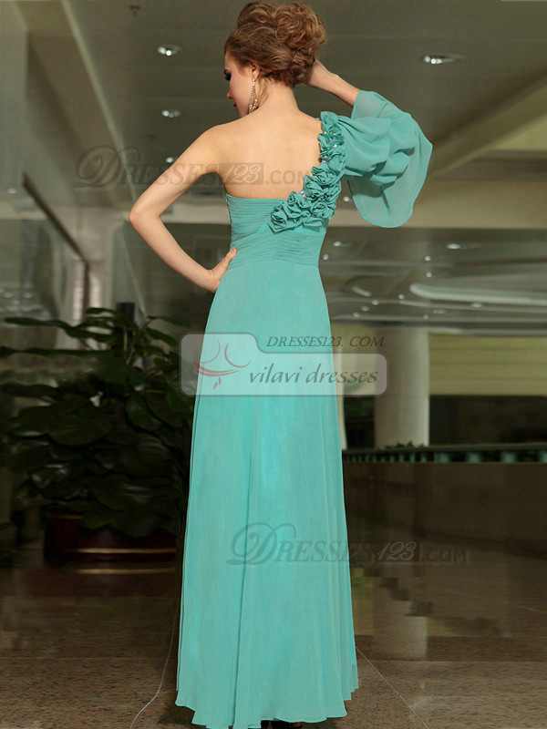 Column One Shoulder Floor-length Chiffon Beading Flower Prom Dresses