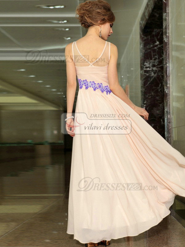 Column V-neck Floor-length Chiffon Beading Appliques Evening Dresses