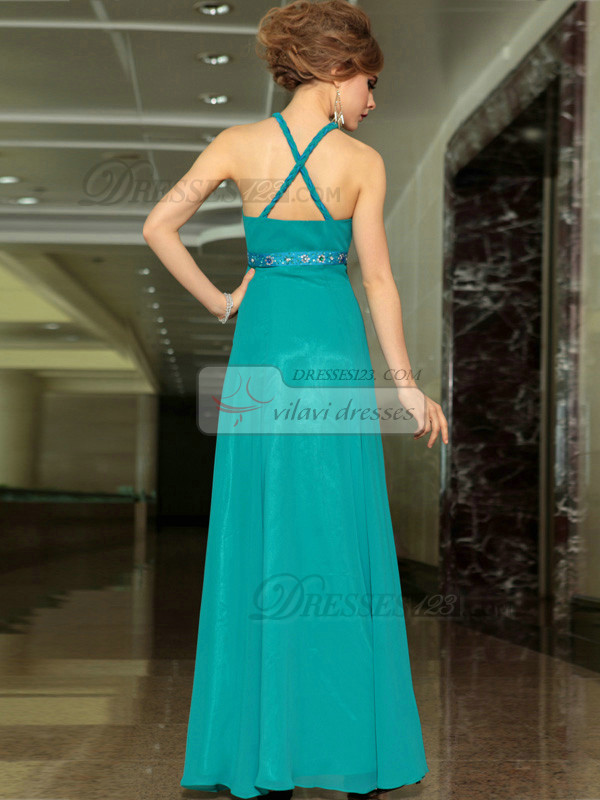 Column Scalloped-edge Floor-length Chiffon Beading Prom Dresses