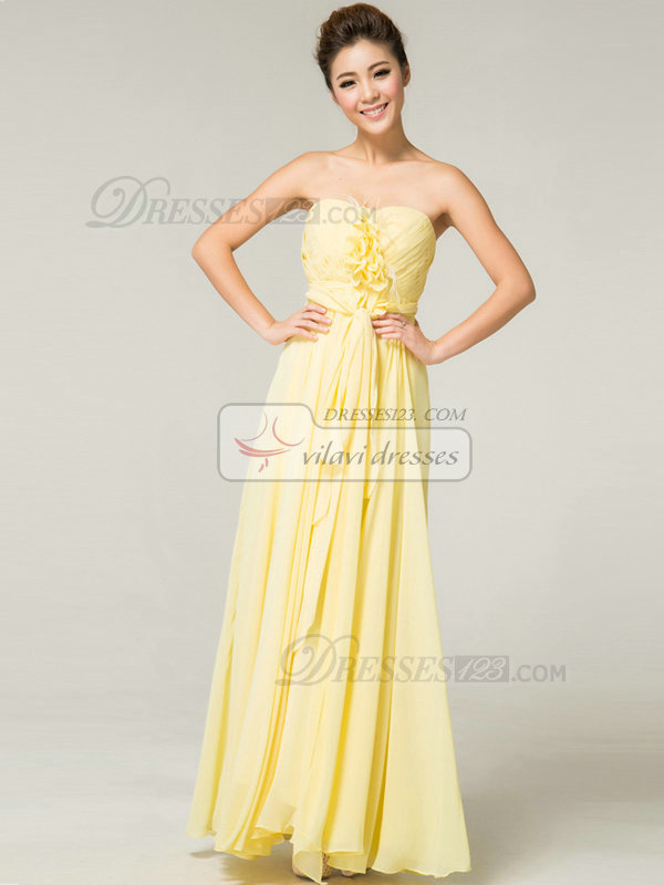 Column Sweetheart Floor-length Chiffon Flower Sashes Evening Dresses