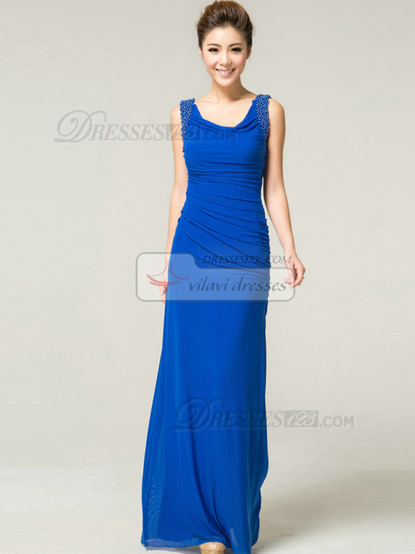 Over Hip Scoop Floor-length Chiffon Beading Tiered Evening Dresses