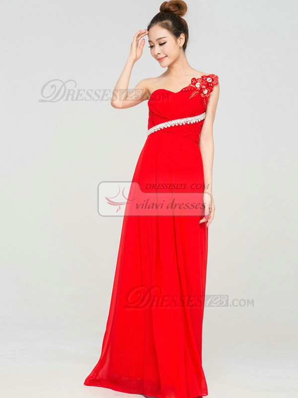 Sheath One Shoulder Floor-length Chiffon Flower Evening Dresses