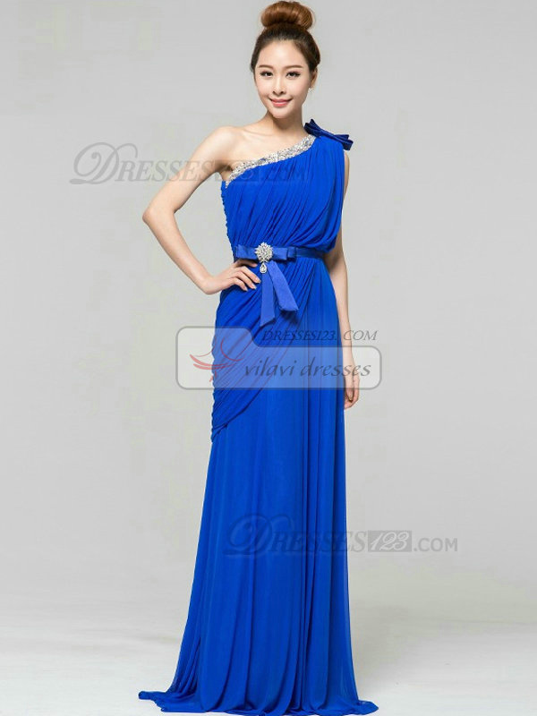 Column One Shoulder Brush Train Chiffon Side-draped Evening Dresses With Bowknot