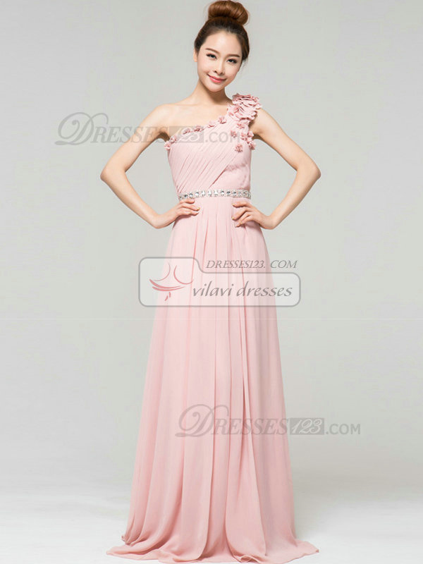 Column One Shoulder Brush Train Chiffon Flower Crystal Evening Dresses