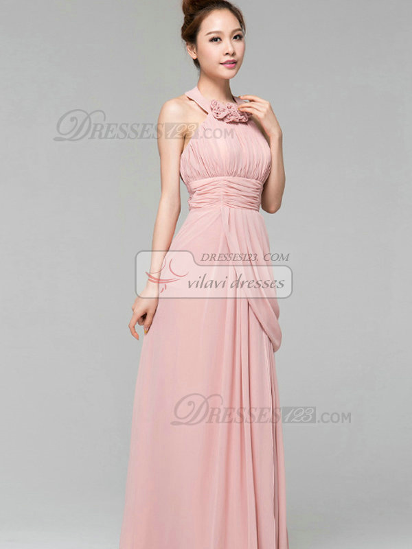 Column Halter Floor-length Chiffon Flower Side-draped Evening Dresses