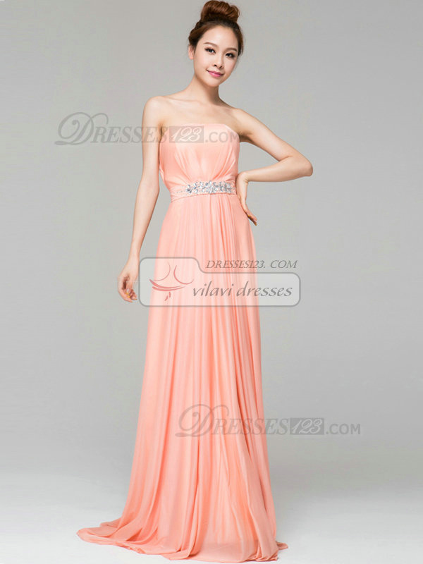 Column Tube Top Brush Train Chiffon Draped Crystal Evening Dresses
