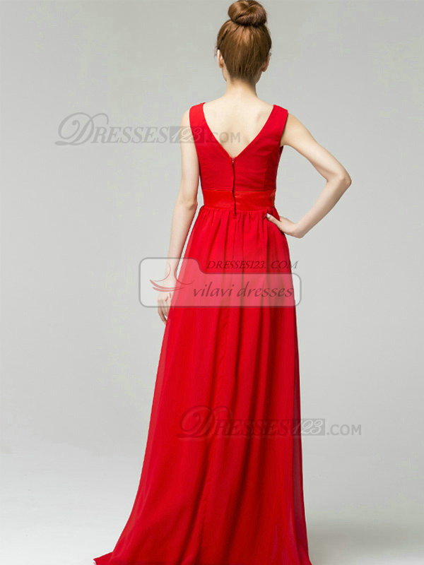 Column V-neck Brush Train Chiffon Crystal Evening Dresses