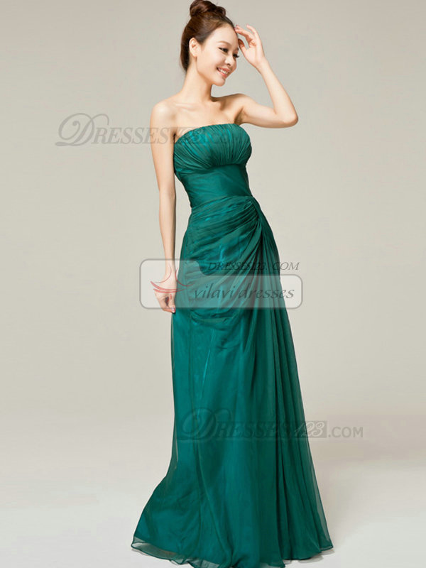 Column Tube Top Brush Train Chiffon Side-draped Evening Dresses