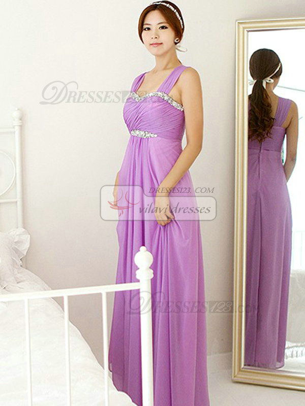 Column Sweetheart Strapless Floor-length Chiffon Evening Dresses With Crystal
