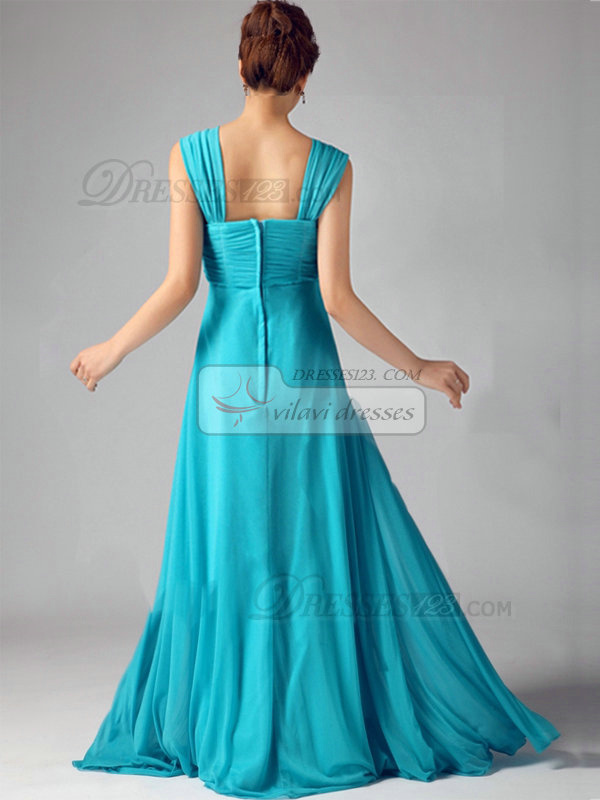 A-line Sweetheart Brush Train Chiffon Crystal Draped Prom Dresses