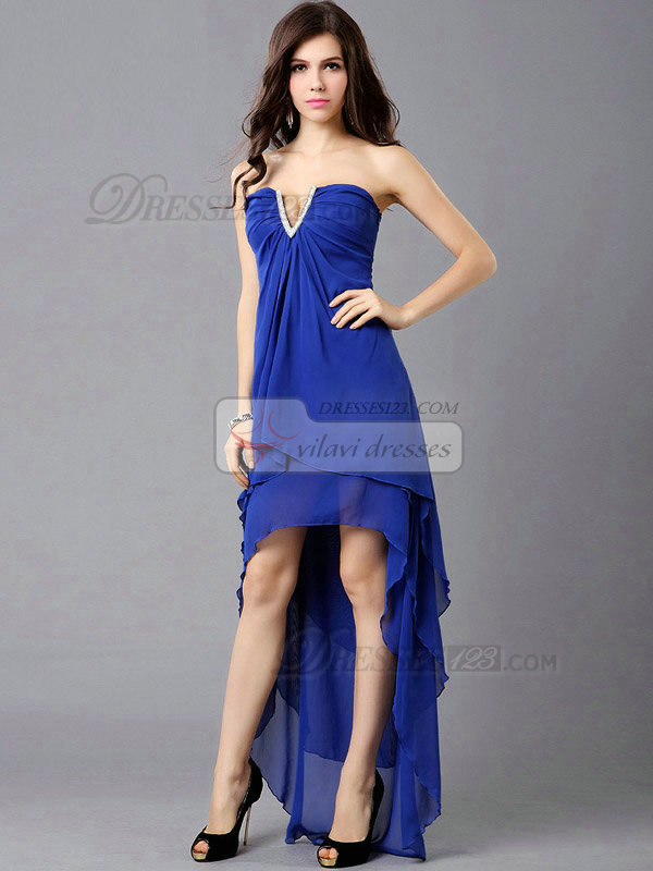 Column V-neck Chiffon High Low Prom Dresses