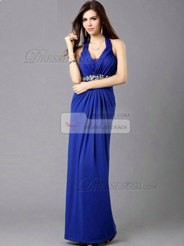 Column Halter Floor-length Chiffon Crystal Evening Dresses
