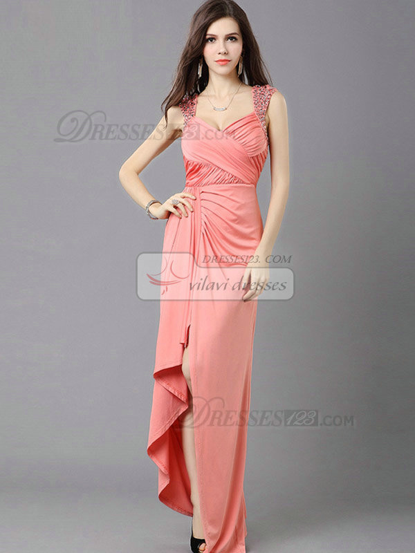 Column Straps Floor-length Chiffon Crystal High Low Prom Dresses With Side-draped