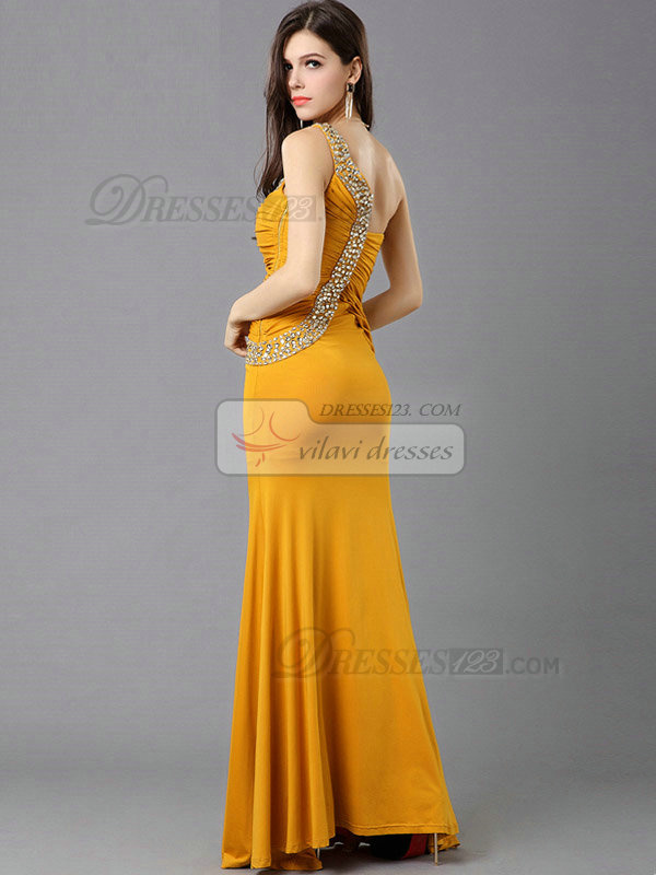 Over Hip One Shoulder Floor-length Chiffon Crystal Tiered Prom Dresses
