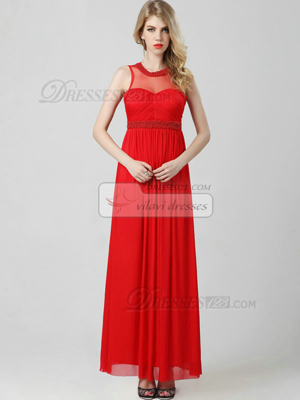 Column Round Brought Ankle-length Chiffon Beading Draped Evening Dresses With Semi Transparent