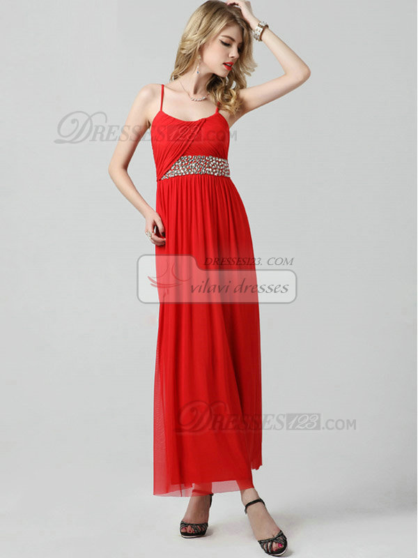 Column Spaghetti Straps Ankle-length Chiffon Crystal Prom Dresses