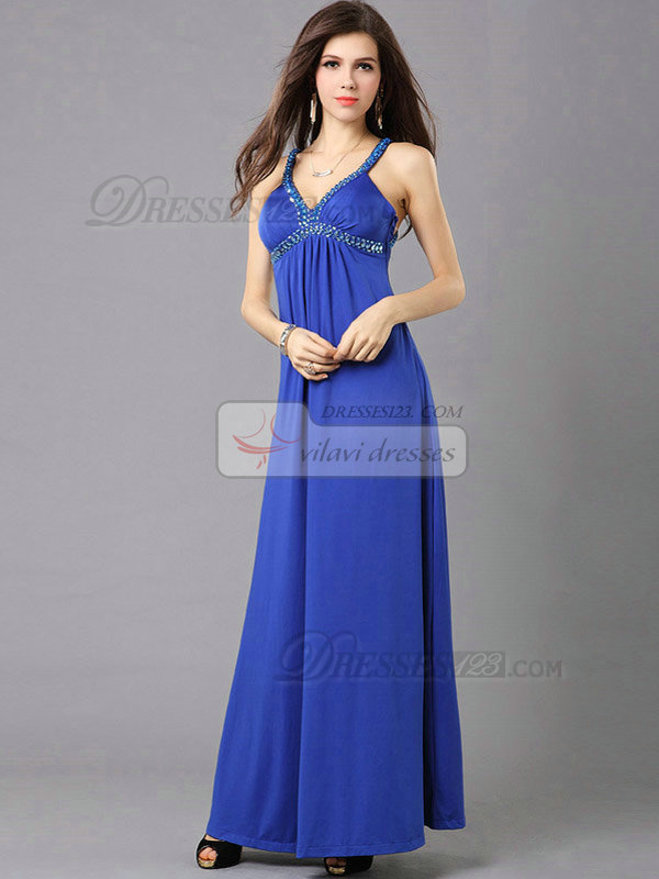 Column V-neck Floor-length Chiffon Crystal Open Back Evening Dresses