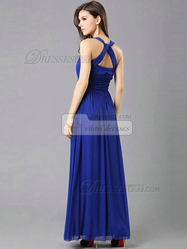 Column Scoop Floor-length Chiffon Beading Draped Evening Dresses