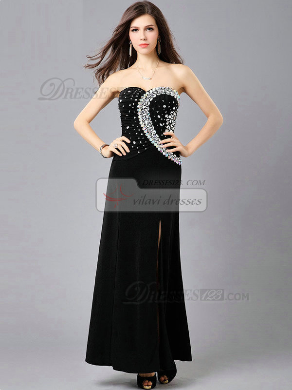 Column Sweetheart Floor-length Chiffon Crystal Prom Dresses With Split Front