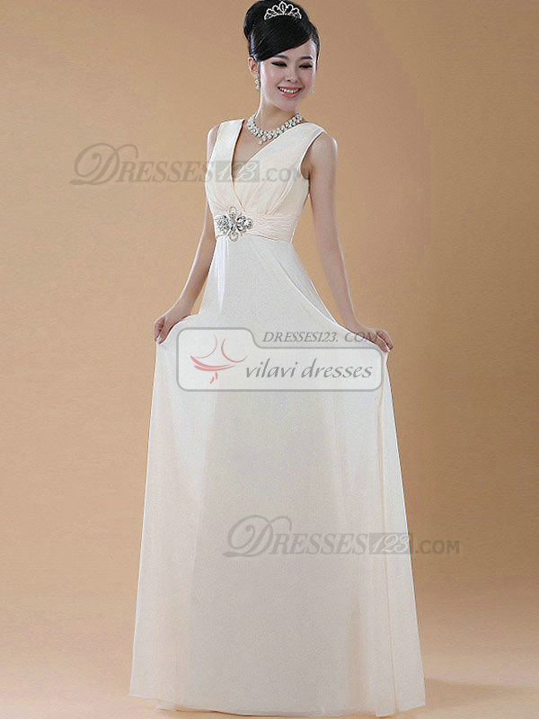 Sheath V-neck Floor-length Chiffon Crystal Evening Dresses