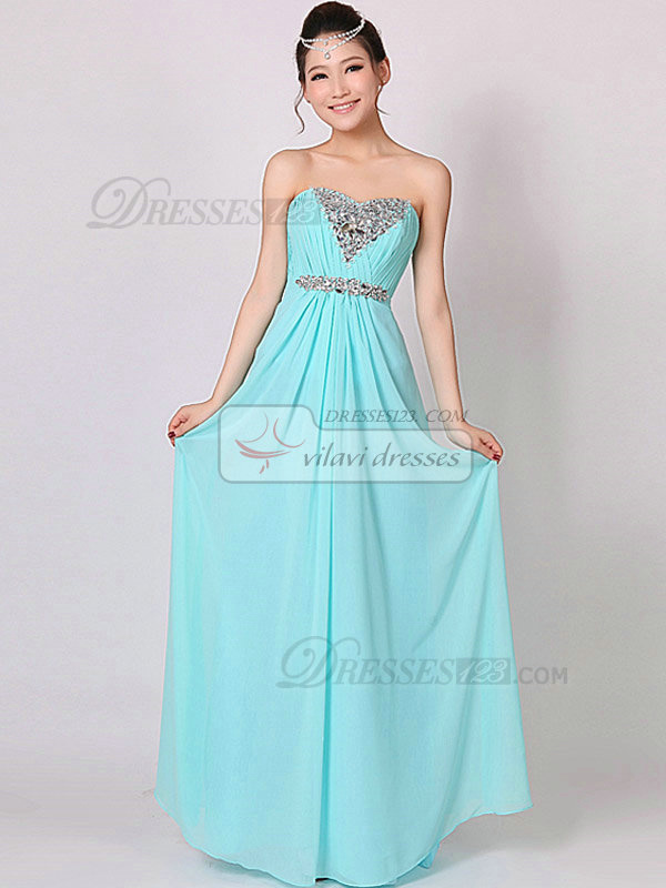 Column Sweetheart Floor-length Chiffon Crystal Evening Dresses