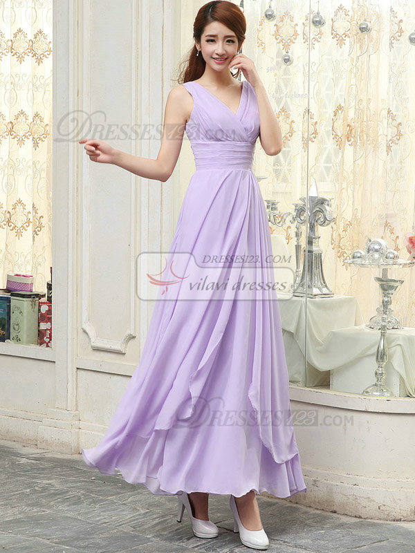 Column V-neck Ankle-length Chiffon Tiered Evening Dresses