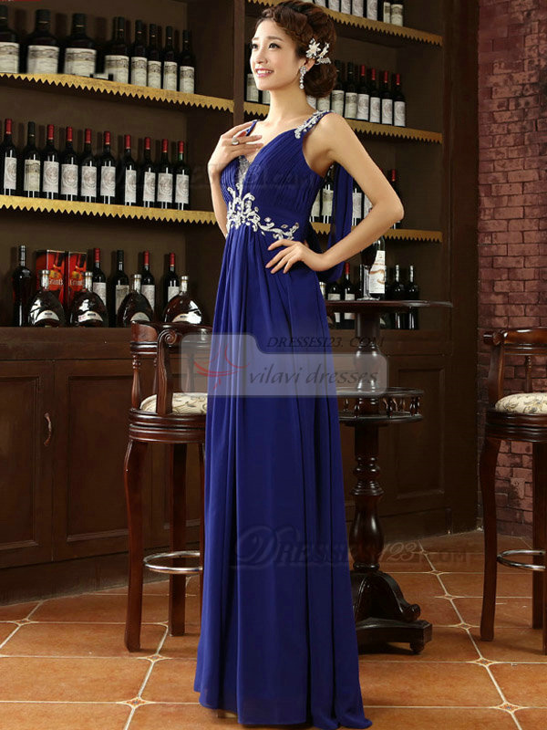 Column Straps Floor-length Chiffon Crystal Prom Dresses