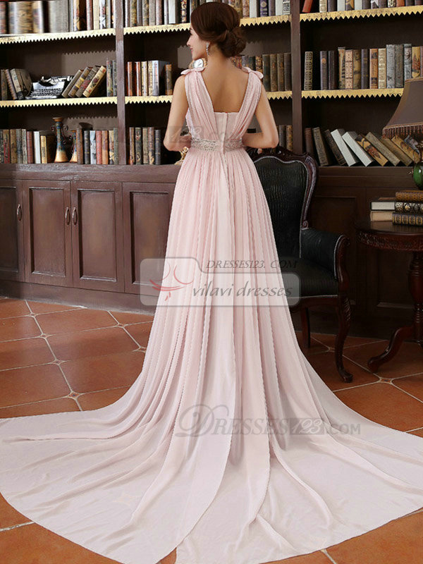 Column Bateau Court Train Chiffon Bowknot Crystal Evening Dresses