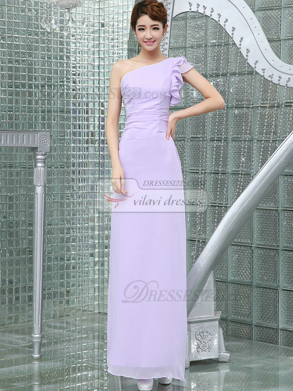 Column One Shoulder Floor-length Short Sleeve Chiffon Evening Dresses