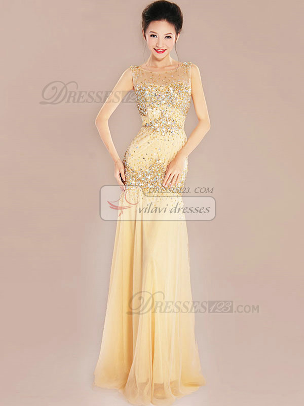 Mermaid Bateau Floor-length Chiffon Crystal Sequin Prom Dresses