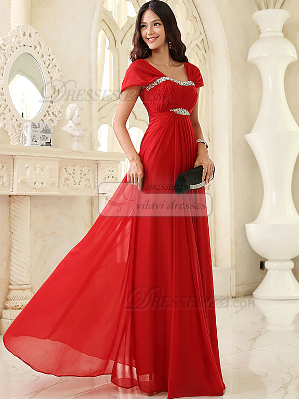 Column Bateau Floor-length Chiffon Crystal Draped Sequin Prom Dresses