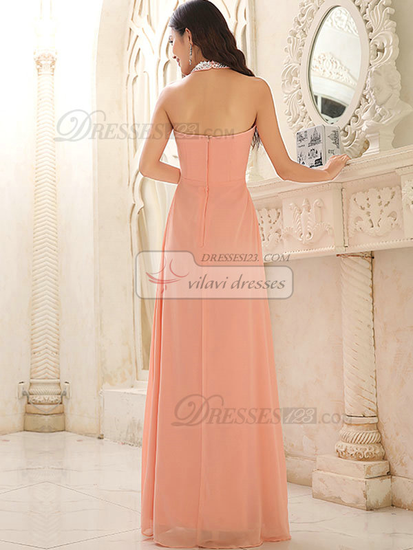 Column Halter Floor-length Chiffon Crystal Beading Sequin Prom Dresses