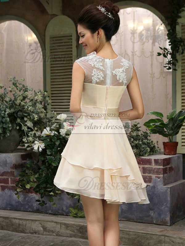 A-line Bateau Short Chiffon Prom Dresses With Semi Transparent