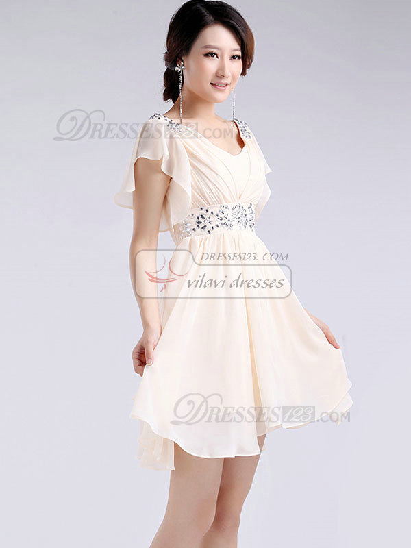 A-line Scoop Short Chiffon Crystal Lotus Leaf Sleeve Prom Dresses