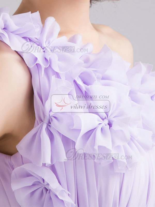 A-line One Shoulder Short Chiffon Bowknot Prom Dresses