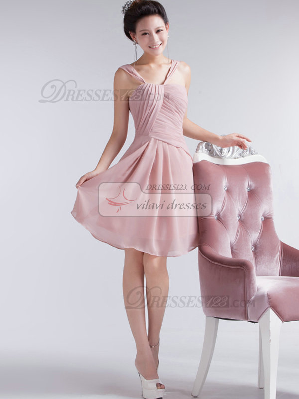 A-line V-neck Straps Short Chiffon Side-draped Prom Dresses