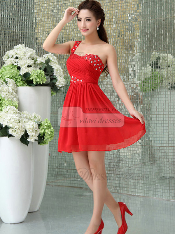 A-line One Shoulder Short Chiffon Flower Crystal Prom Dresses