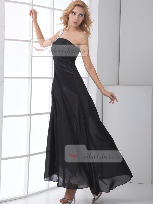 A-line One Shoulder Ankle-length Chiffon Side-draped Evening Dresses