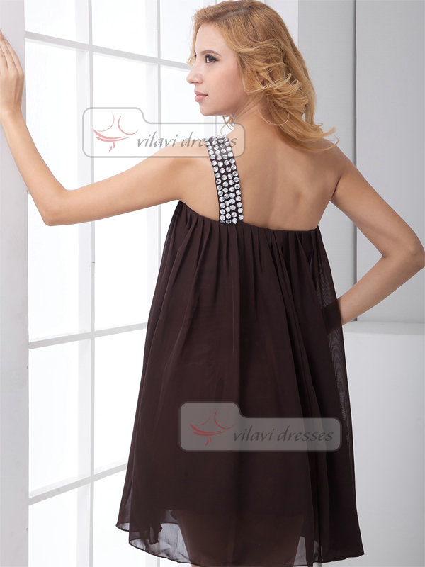 A-line One Shoulder Short Chiffon Crystal Prom Dresses
